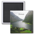 Norway Fjord Square Magnet