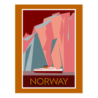 Norway fjords retro vintage style travel postcard