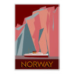Norway fjords retro vintage style travel poster