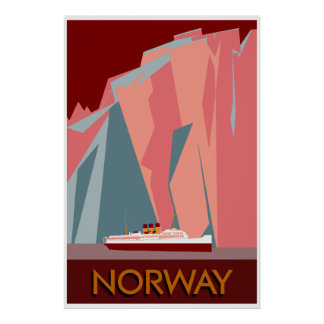 Norway fjords retro vintage style travel poster