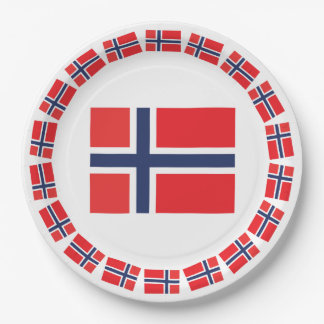 NORWAY FLAG 9 INCH PAPER PLATE
