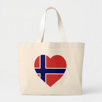 Norway Flag Heart Large Tote Bag