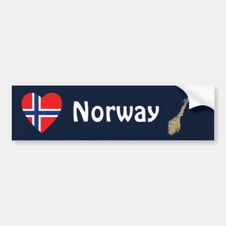 Norway Flag Heart + Map Bumper Sticker Car Bumper Sticker