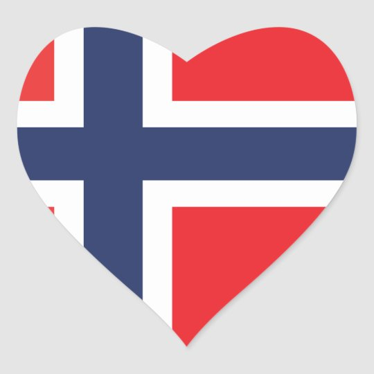 NORWAY FLAG HEART STICKER