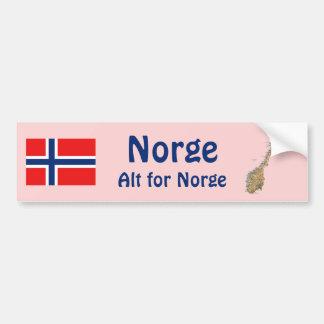 Norway Flag + Map Bumper Sticker Car Bumper Sticker