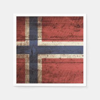 Norway Flag on Old Wood Grain Paper Napkins