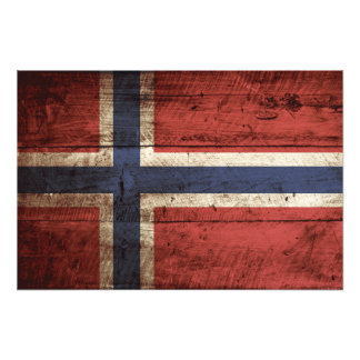 Norway Flag on Old Wood Grain Photograph