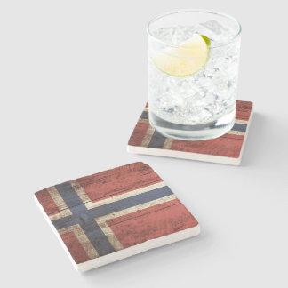 Norway Flag on Old Wood Grain Stone Beverage Coaster