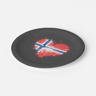 Norway Flag Shining Beautiful Paper Plate