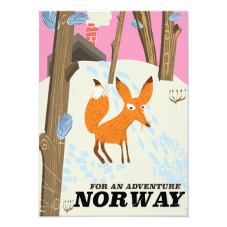 Norway fox vintage travel poster photo art