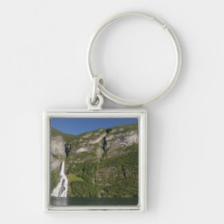 Norway, Geirangerfjord (UNESCO), Geiranger. Silver-Colored Square Key Ring