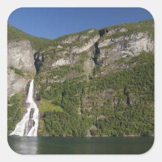 Norway, Geirangerfjord (UNESCO), Geiranger. Square Sticker