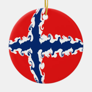 Norway Gnarly Flag Double-Sided Ceramic Round Christmas Ornament