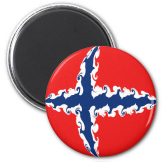 Norway Gnarly Flag 6 Cm Round Magnet