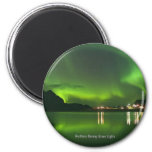 Norway Green Lights Round Magnet