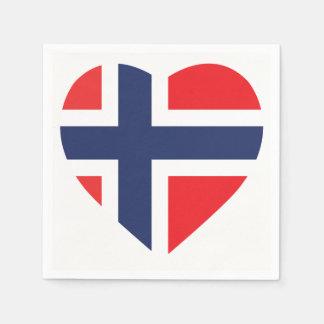 NORWAY HEART SHAPE FLAG DISPOSABLE SERVIETTES
