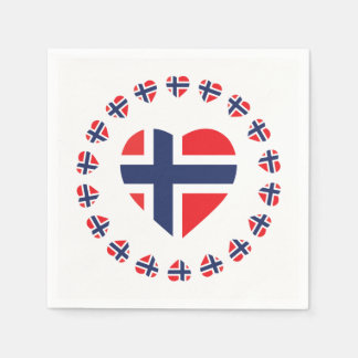 NORWAY HEART SHAPE FLAG PAPER NAPKINS