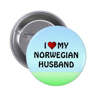 Norway: I LOVE MY NORWEGIAN HUSBAND 6 Cm Round Badge