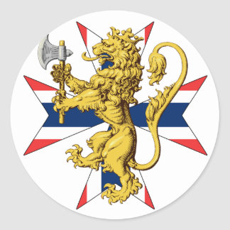 Norway Lion Cross Norwegian Flag Round Sticker