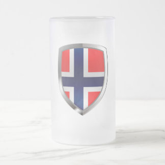 Norway Metallic Emblem Frosted Glass Beer Mug