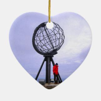 Norway, North Cape, globe symbol Ceramic Heart Decoration