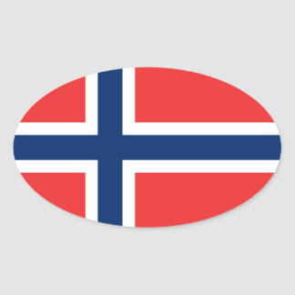 Norway/Norwegian Flag Oval Sticker