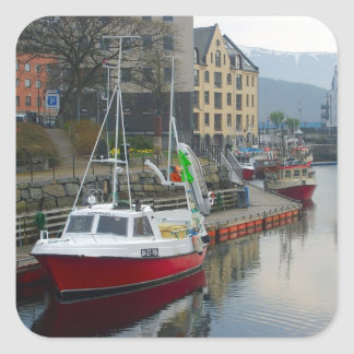 Norway, port on the north coast square sticker