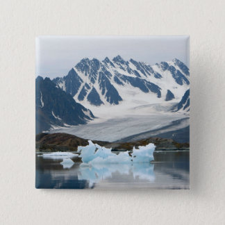 Norway, Receding Glacier and iceberg 15 Cm Square Badge