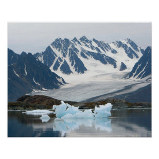 Norway, Receding Glacier and iceberg Poster
