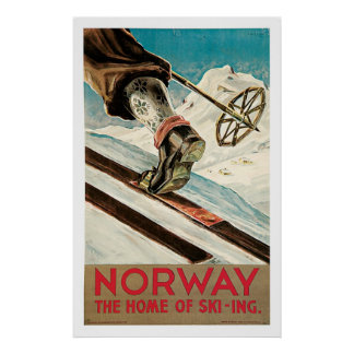 Norway Ski Sports Vintage Travel Poster