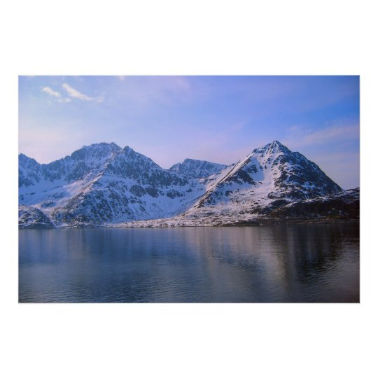Norway, Snow on the mountains Poster
