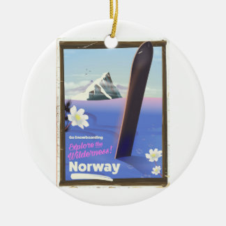 Norway Snowboarding vintage style travel poster Christmas Ornament