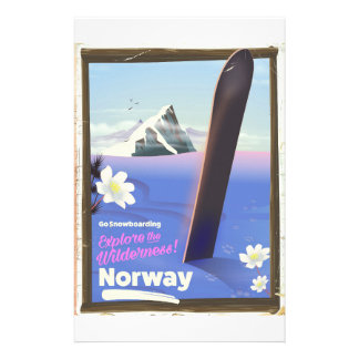 Norway Snowboarding vintage style travel poster Stationery
