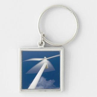 Norway, Sogn og Fjordane. Wind mill at Kråkenes. Silver-Colored Square Key Ring