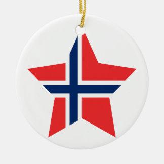 Norway Star Round Ceramic Decoration