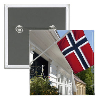 Norway, Stavanger. Historic downtown views. 15 Cm Square Badge