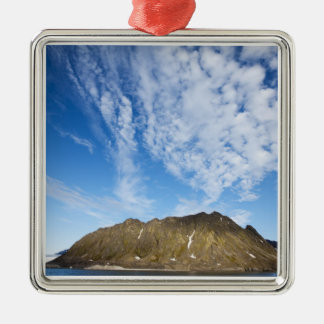 Norway, Svalbard, Clouds above steep cliffs Silver-Colored Square Decoration