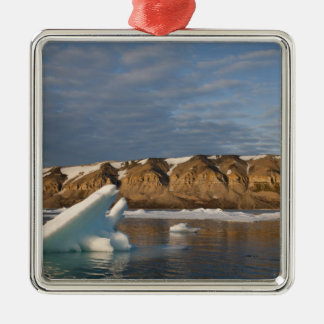 Norway, Svalbard, Spitsbergen Island, Setting Silver-Colored Square Decoration
