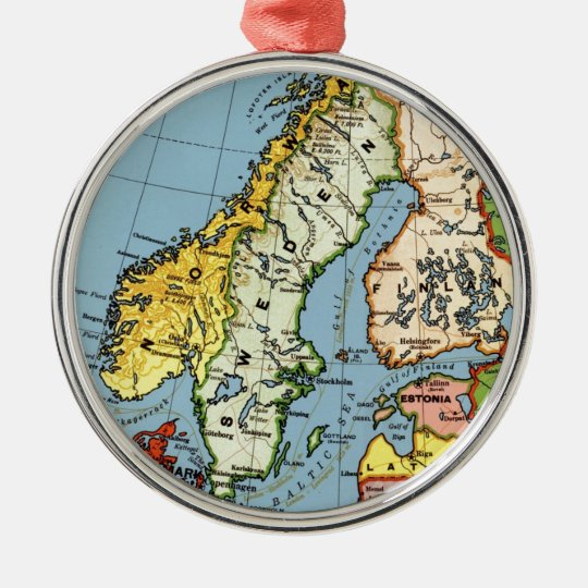 Norway Sweden Denmark Map Design Christmas Ornament