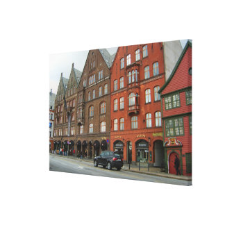 Norway, Tall red houses in Bergen city centre Canvas Print