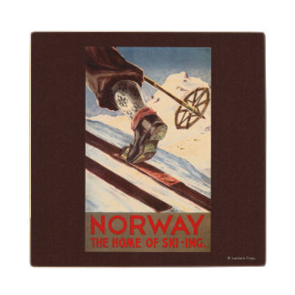 Norway - The Home of Skiing Maple Wood Coaster