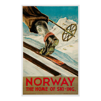 Norway The Home of Skiing Vintage Travel Poster