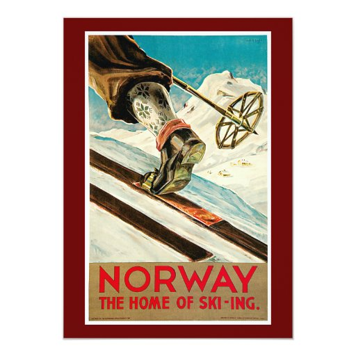 Norway The Home of Skiing Vintage Travel Poster 13 Cm X 18 Cm Invitation Card