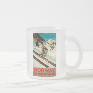 Norway The Home of Skiing Vintage Travel Poster Frosted Glass Mug