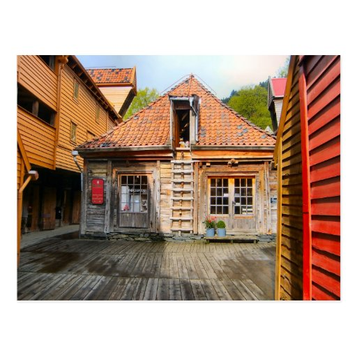 Norway traditional village wooden houses postcard zazzle for Norway wooden houses