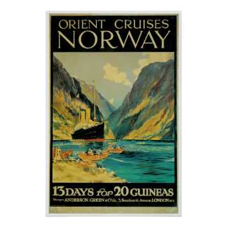 Norway Travel - Vintage Ship Advertisement Poster