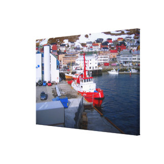 Norway, Tugs and fishing boats in a busy port Canvas Print