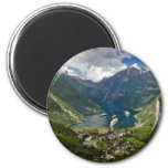 Norway view to Geiranger from Flydalsjuvet 6 Cm Round Magnet
