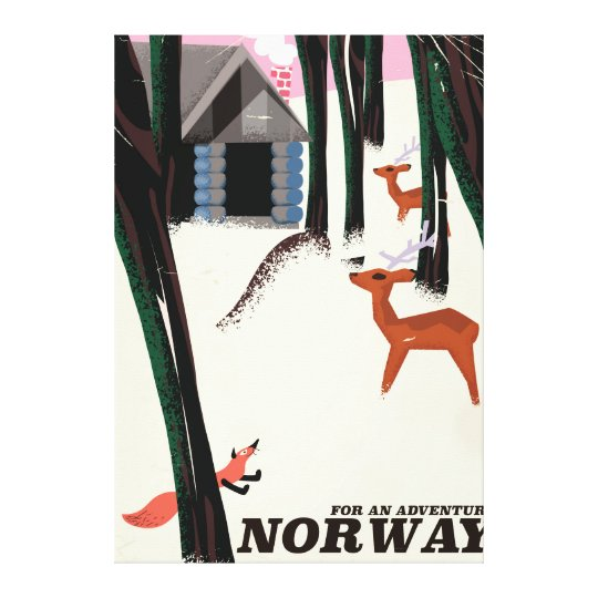 Norway vintage travel poster landscape canvas print