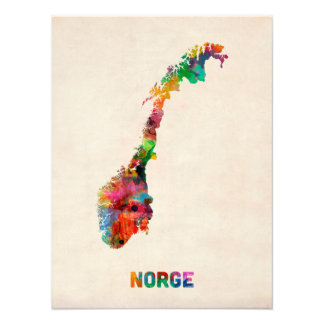 Norway Watercolor Map Photo Art